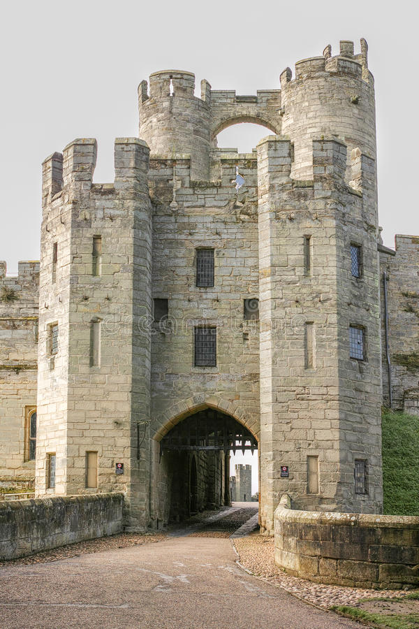 Warwick castle, main gate stock photography