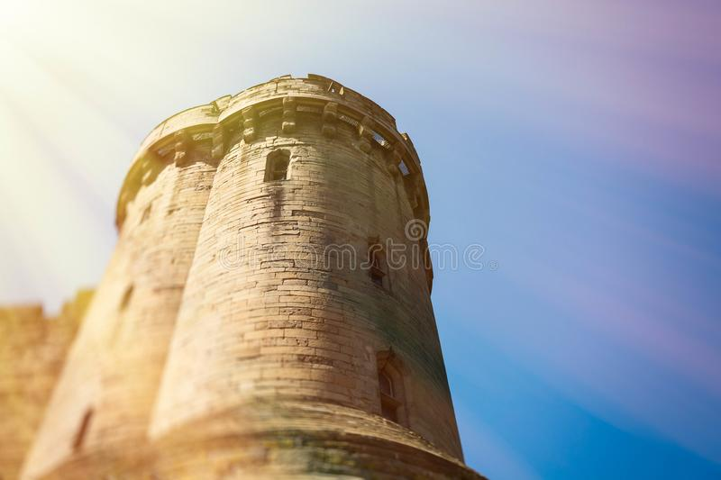 Warwick, Warwick Castle, UK, May5,2018.Castle tower. Warwick Castle viewed from the river side.May5,2018.Castle tower stock photos