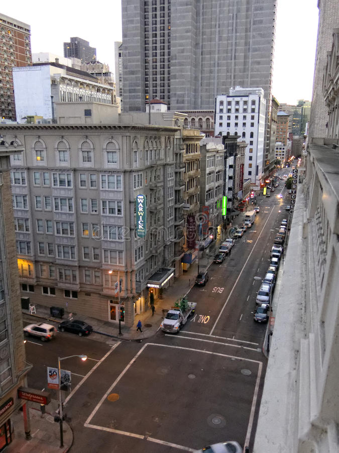 Warwick Hotel su Geary Street San Francisco fotografia stock libera da diritti