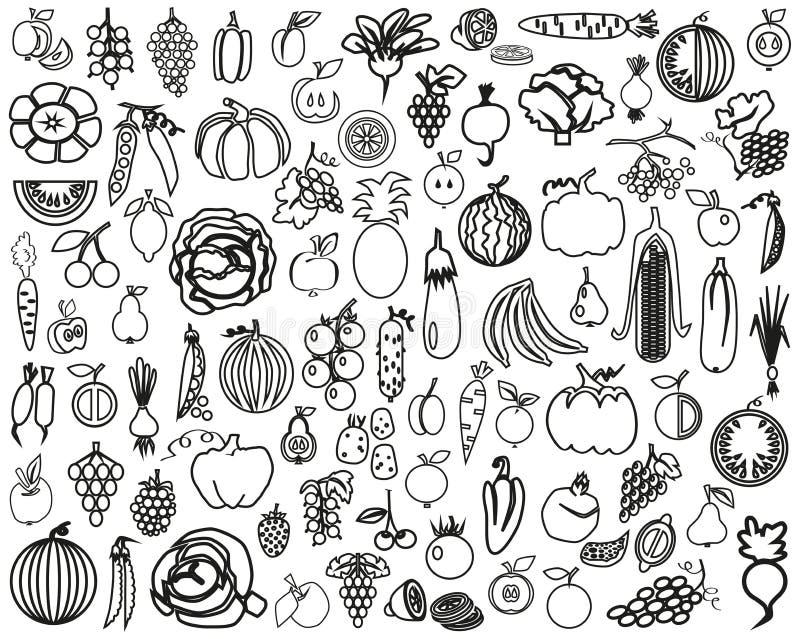 Warzyw i owoc kontur ilustracja wektor