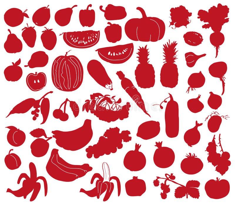 Warzyw i owoc sylwetki ilustracji