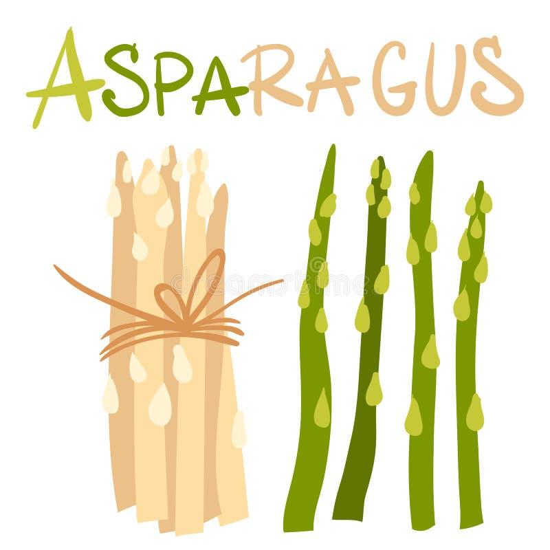 Warzywa Asparagus zieleni flance Pakunek zdrowi i smakowici weganin?w produkty, zdrowy jarski jedzenie P?aska kresk?wka ilustracja wektor