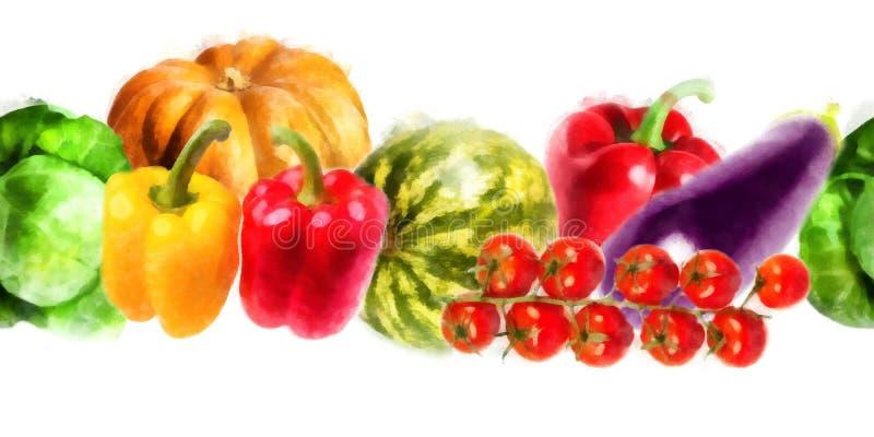 Warzywa - bania, słodki pieprz, kapusta, arbuz, oberżyna, gałąź pomidory - akwarela bezszwowy wzór zdjęcia stock