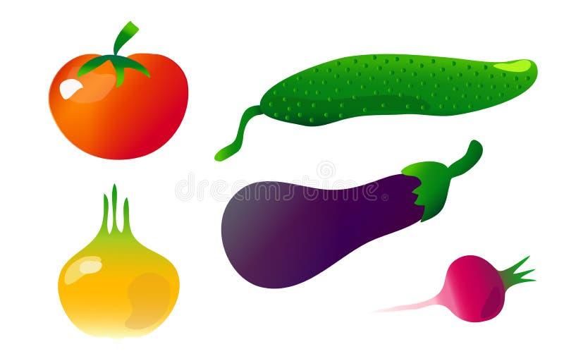 Warzywa clipart, set pomidor, aubergine, rzodkiew, ogórek, cebula na białym tle ilustracji