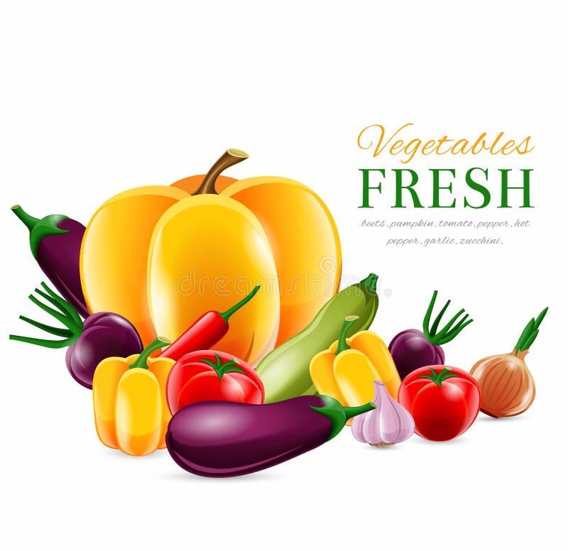 Warzywa grupują plakat royalty ilustracja