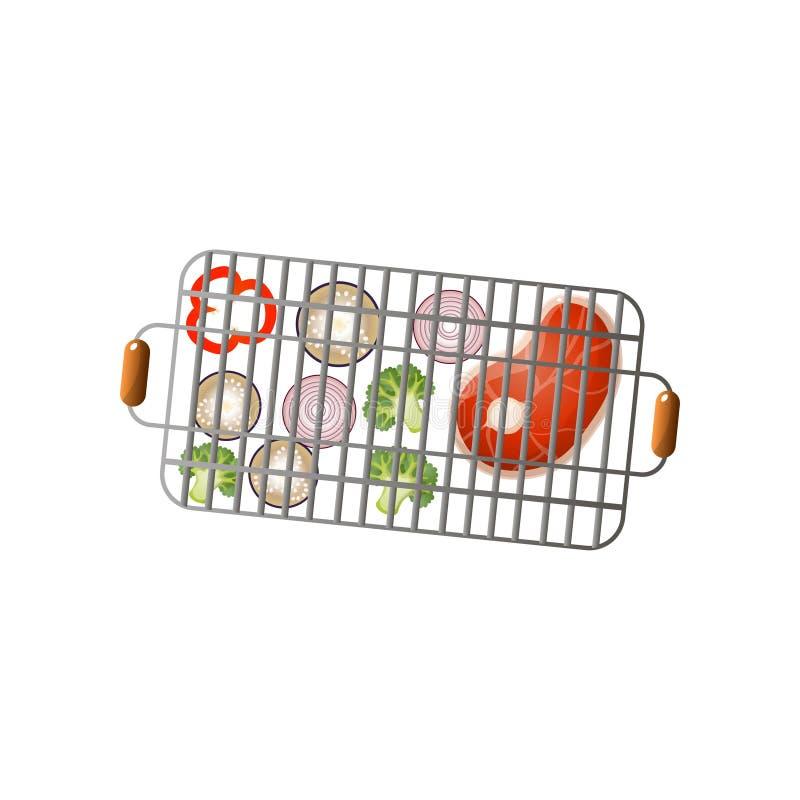 Warzywa i świeży stek na metalu bbq stalowym koszu ilustracja wektor