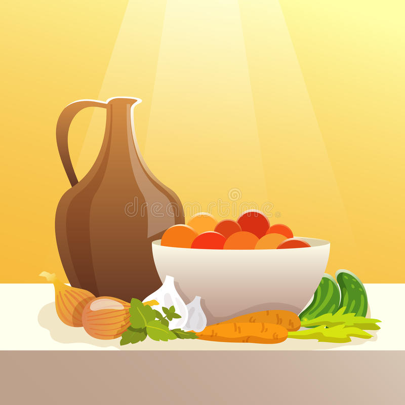 Warzywa I miotacza Wciąż życie ilustracja wektor