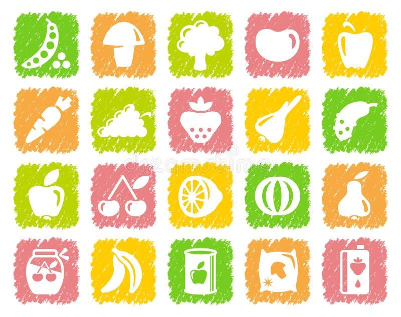 Warzywa i owoc ikony ilustracja wektor