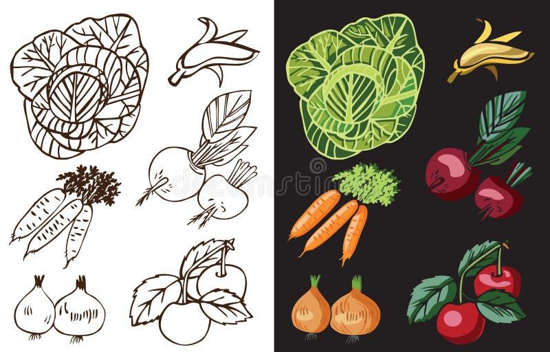 Warzywa i owoc na czerni royalty ilustracja