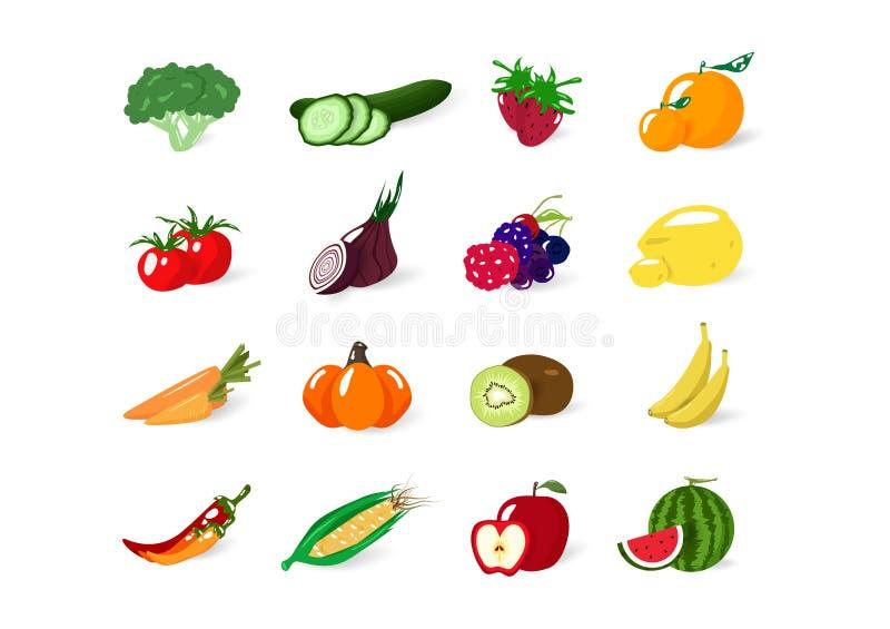 Warzywa i owoc, organicznie zdrowa karmowa kolekcji równowagi dieta, odizolowywająca na białej astronautycznego wektoru ilustracj royalty ilustracja