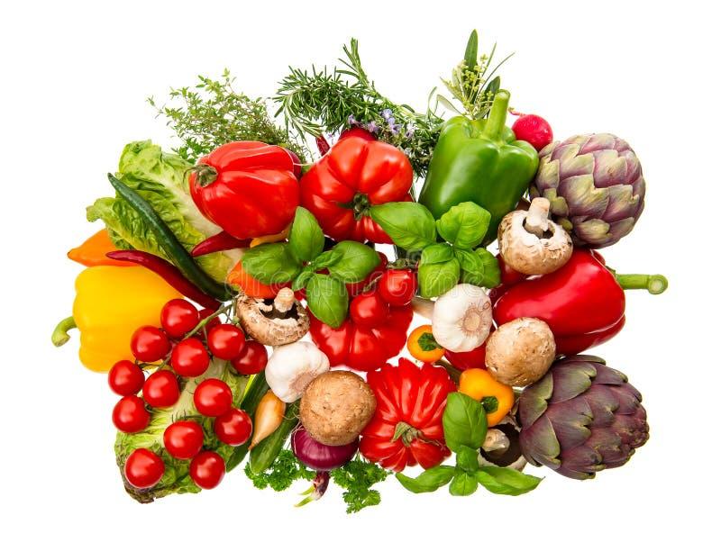 Warzywa i ziele odizolowywający na białym tle zdrowa żywność obraz royalty free