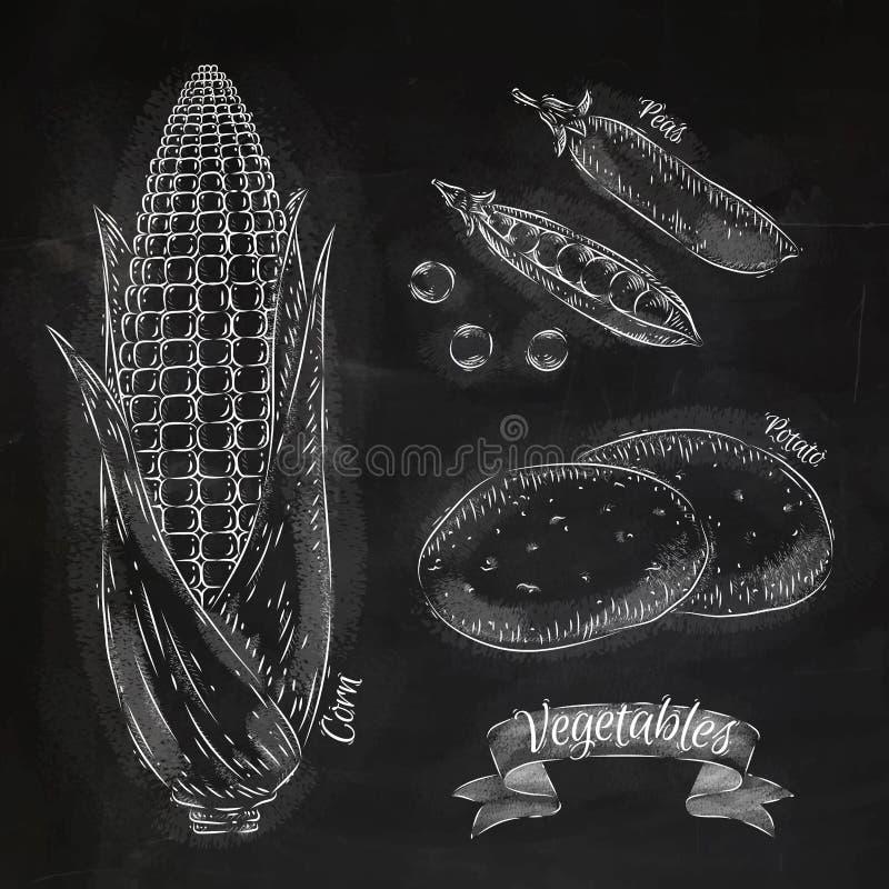 Warzywa kukurudze, grochy, gruli kreda royalty ilustracja