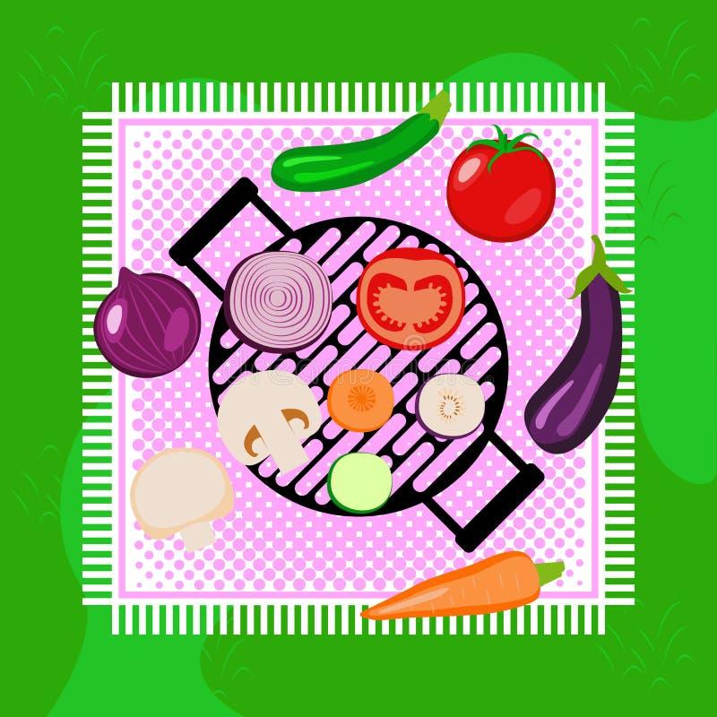 Warzywa lata pinkinu przyjęcie plenerowy z grillem ilustracji