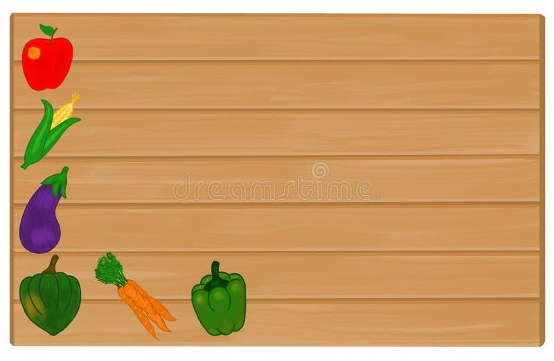 Warzywa Malujący na drewno znaku Z Copyspace dla teksta zdjęcie royalty free