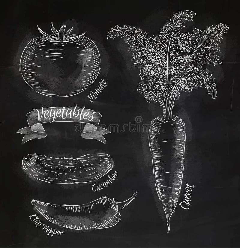 Warzywa marchewki, pomidor, chili pieprze, ogórek ilustracji