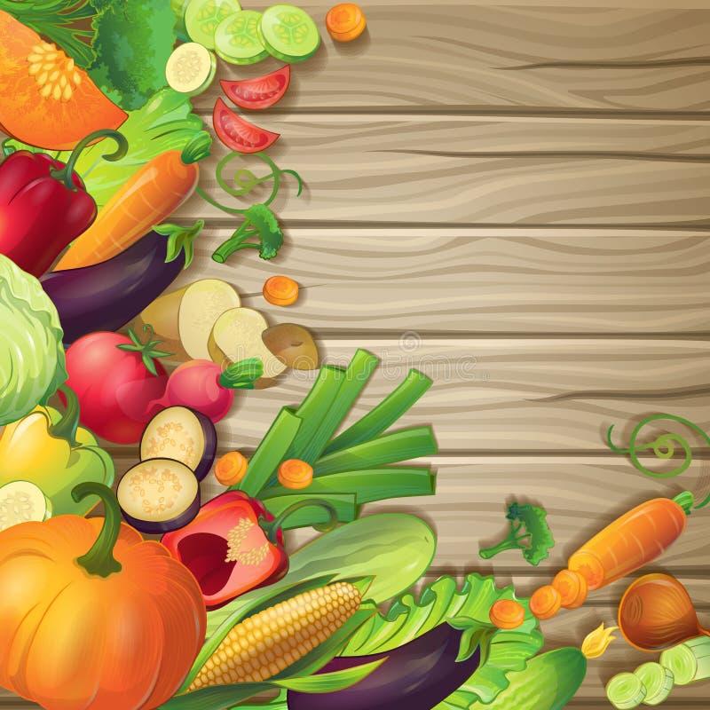 Warzywa Na Drewnianym pojęciu ilustracja wektor