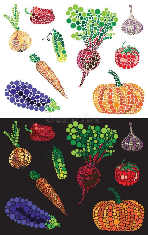 Warzywa od barwionych okregów ilustracja wektor
