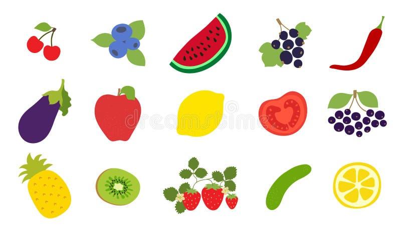 Warzywa, owoc, jagody ustawiać Wiśnia, czarna jagoda, arbuz, rodzynek, pieprz, oberżyna, jabłko, cytryna, pomidor, czarny chokebe ilustracja wektor