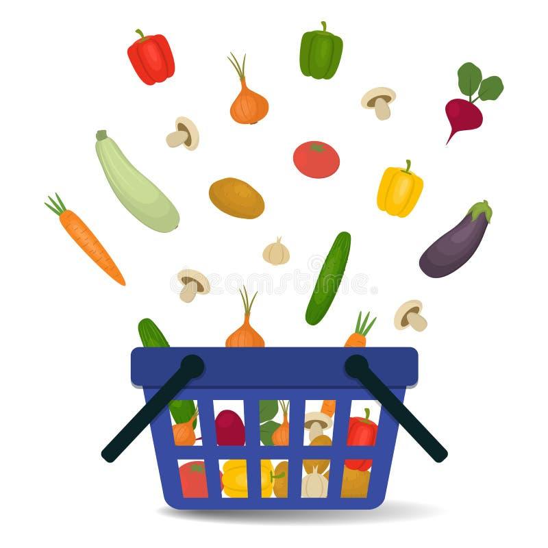 Warzywa spada w kosz ilustracja wektor