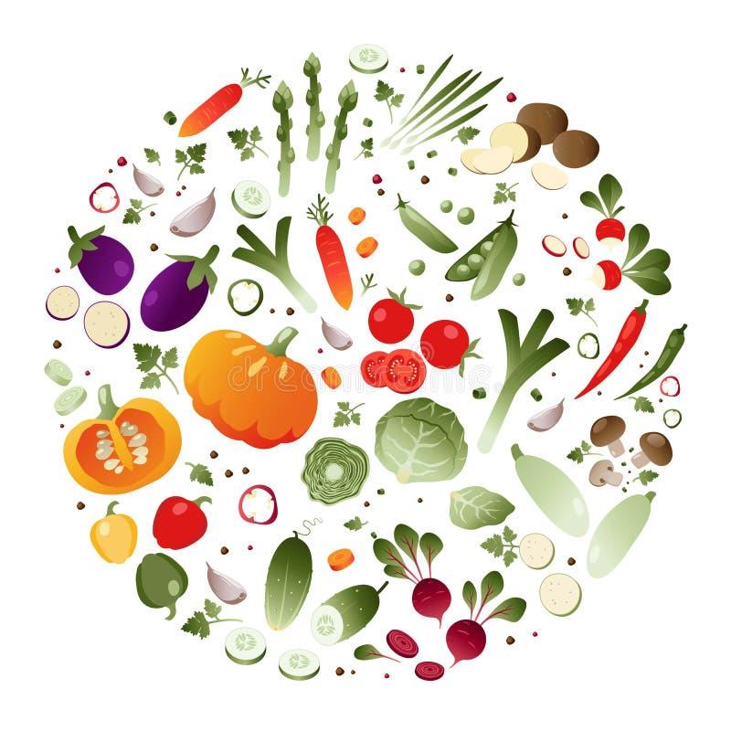 Warzywa w formie okręgu ilustracja wektor