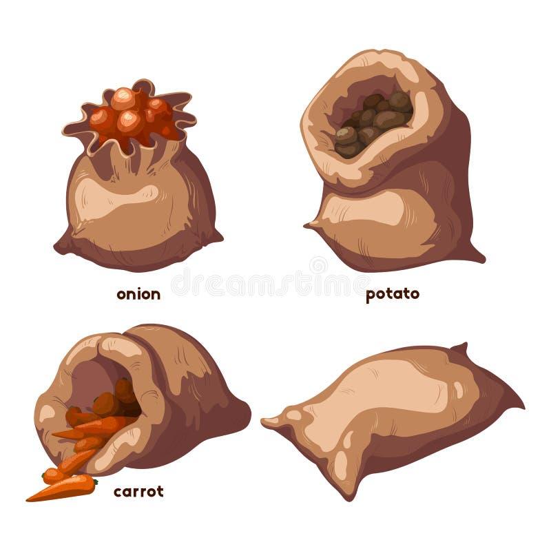 Warzywa W torba elementach Ustawiających ilustracji