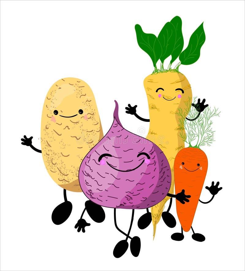 Warzywa zakorzeniają charaktery z nogami i twarzami dziecko edukacyjna ilustracja royalty ilustracja