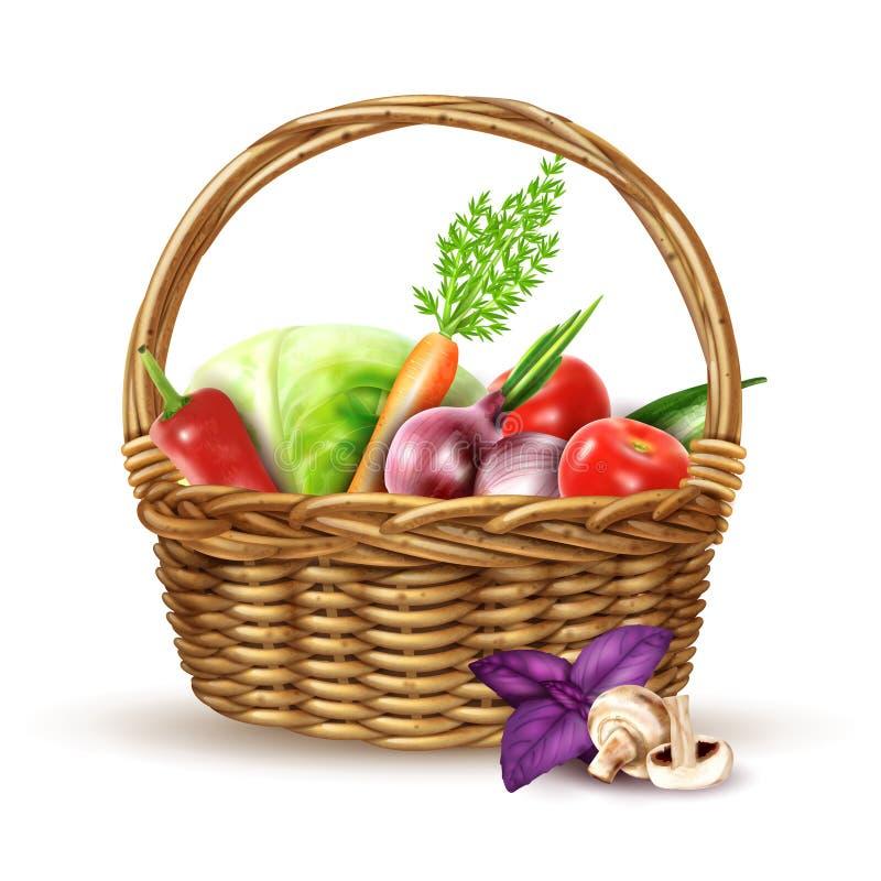 Warzywa Zbierają Łozinowego kosza Realistycznego wizerunek ilustracja wektor