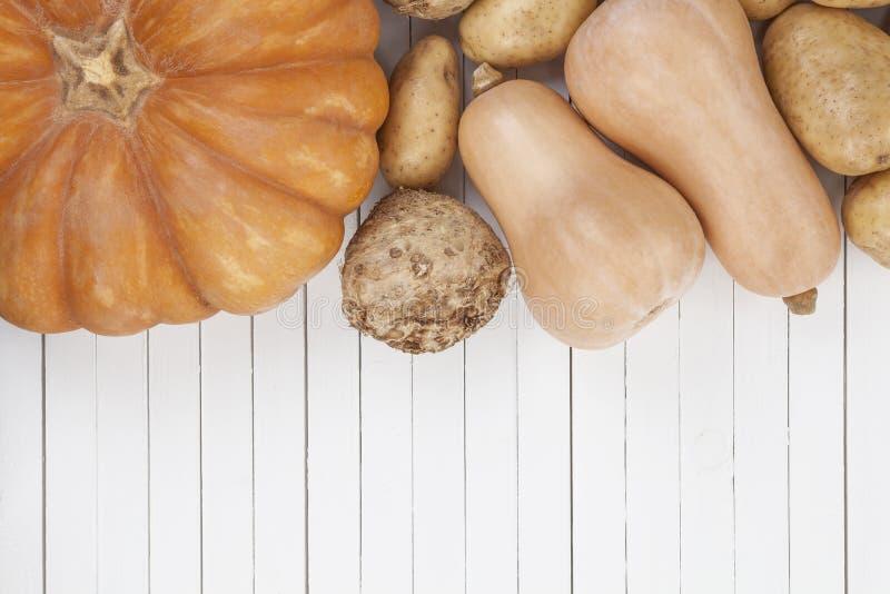 Warzywa zbierają na białym drewnianym stołowym tle, odgórny widok zdjęcia stock