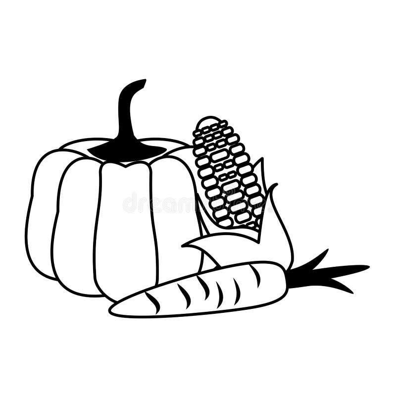 Warzywo świeżej żywności inkasowa kreskówka w czarny i biały royalty ilustracja