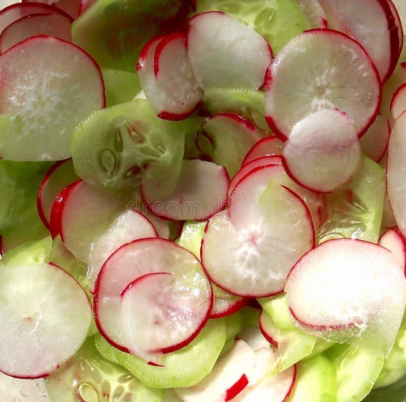 Warzywo rzodkwie i og?rki Lato czerwieni zieleni wyśmienicie świeży zdrowy fotografia stock
