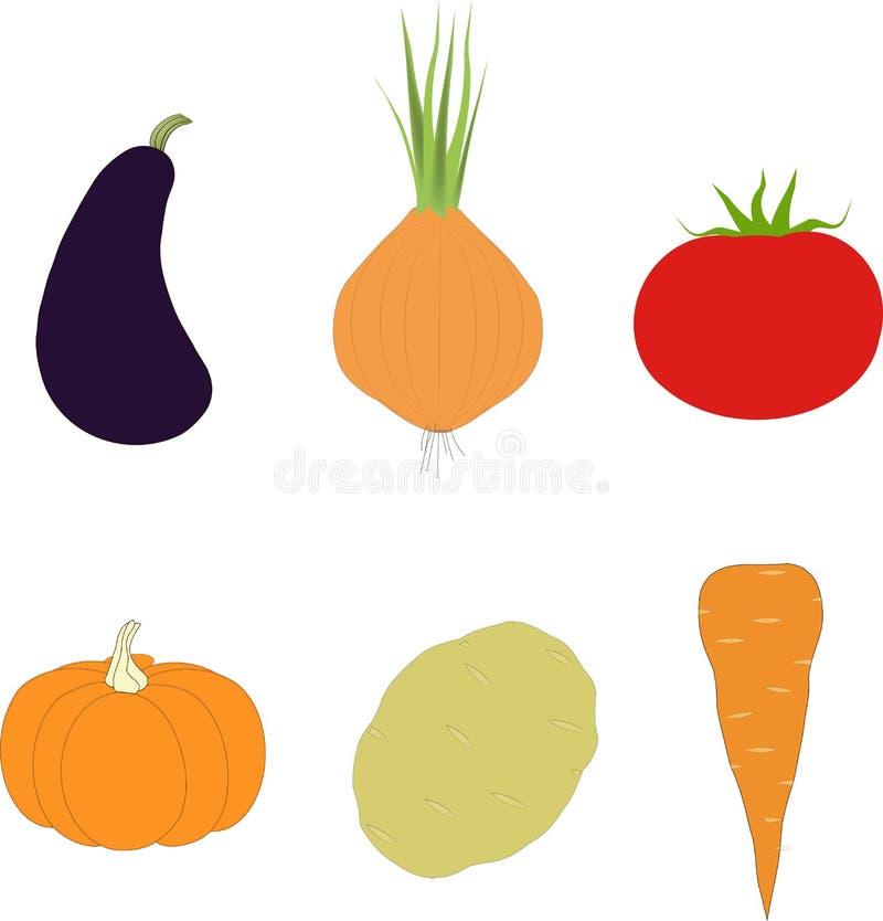 Warzywo set Purpurowa oberżyna, pomarańczowa bania, marchewka, cebula, grula, czerwony pomidor na białym tle, ręka rysunek ilustracja wektor