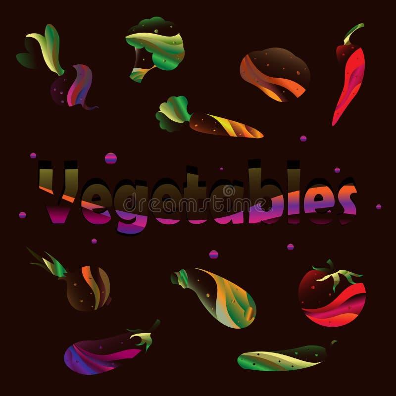 Warzywo set wektor Kukurudza, cebula, pieprz, grochy, chili, kalafior, zucchini, pomidor, bania, burak, marchewka, grule, kapusta ilustracja wektor
