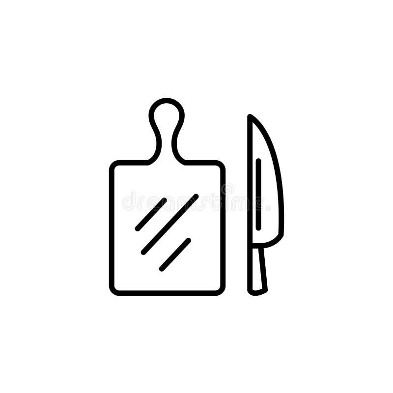 Warzywo Tnąca deska z Nożową ikoną Kuchenni urządzenia dla kulinarnej ilustracji Prosty cienki kreskowego stylu symbol ilustracja wektor