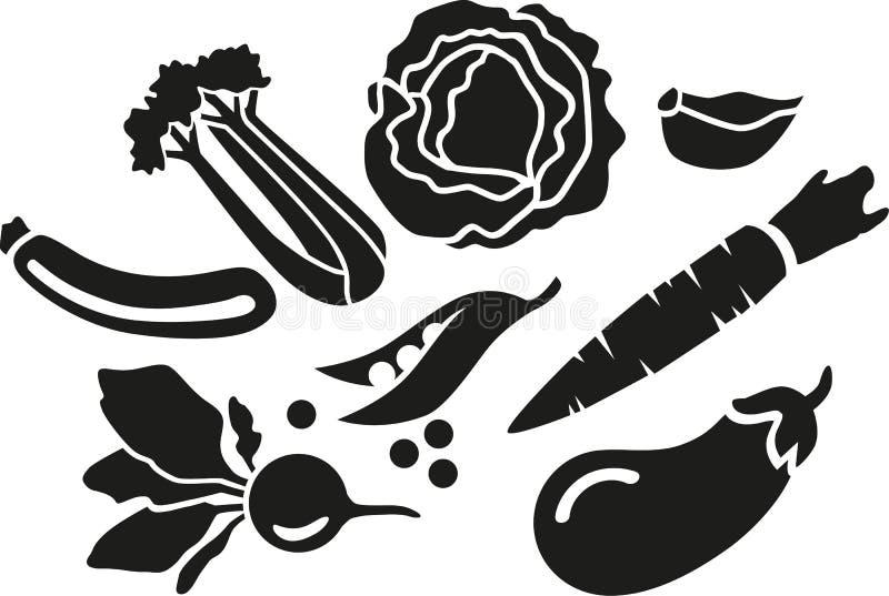 Warzywo ustawiający - podstawowi veggies ilustracja wektor