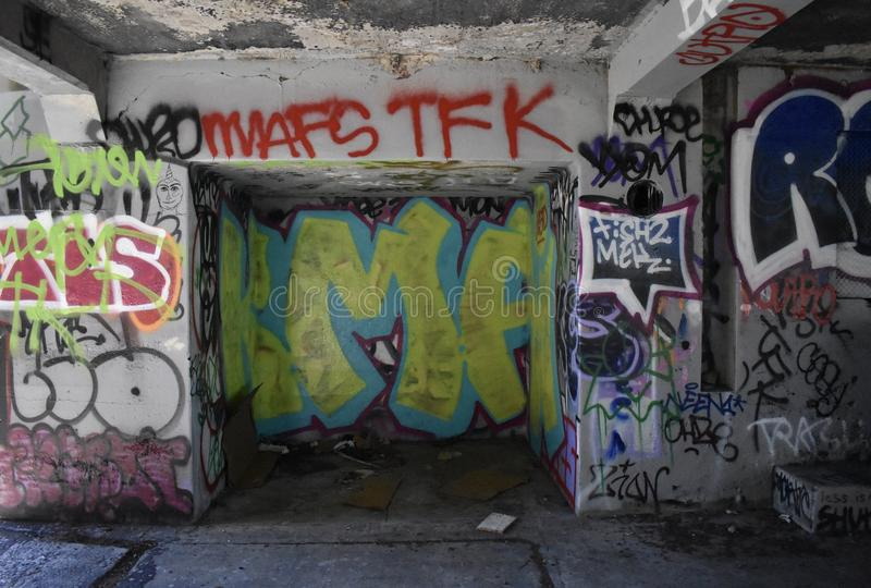 The remains of West Fort Miley beautified under graffiti, 6. stock photo