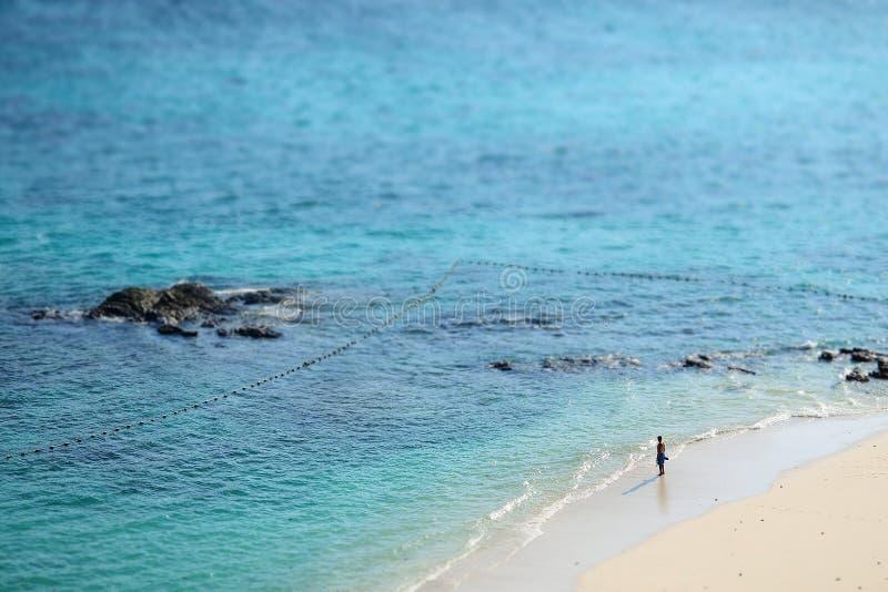 Was er denkend an das Meer vor ihm ist stockfotografie