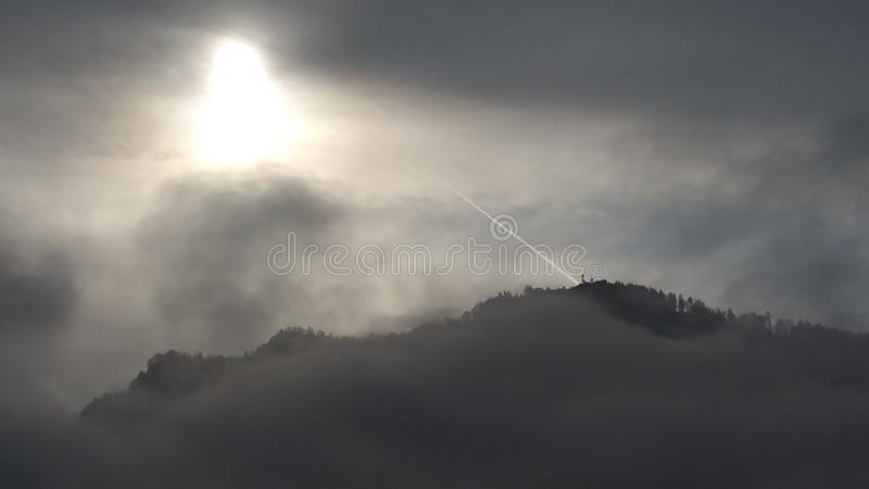 It was a foggy day Perfect time stock photo
