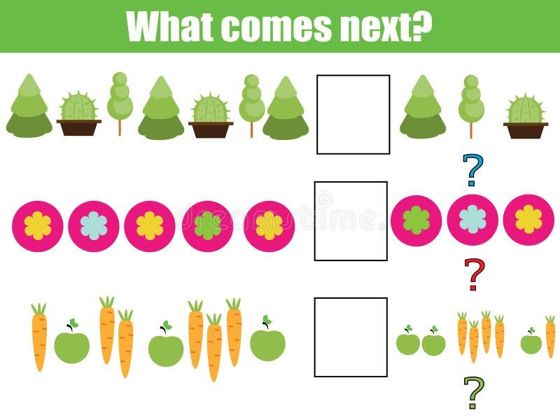 Was folgendes pädagogisches Kinderspiel kommt Scherzt Tätigkeitsblatt, setzt die Reihe, Logikpuzzlespiel fort stock abbildung