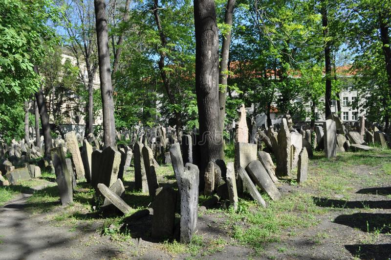 Old Jewish cemetary, Prague, Czech Republic. It was founded at the beginning of the 15th. When it stopped using it in 1787, there was no more room. It has 12,000 stock photos