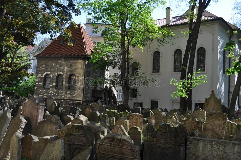 Old Jewish cemetary, Prague, Czech Republic. It was founded at the beginning of the 15th. When it stopped using it in 1787, there was no more room. It has 12,000 stock images