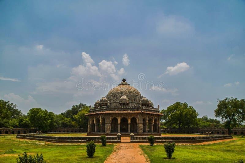 Was het Isha khan graf hallo een Pashtun edel in de hoven van Sher-Sjah Sur binnen Humayun-graf; Delhi stock foto's