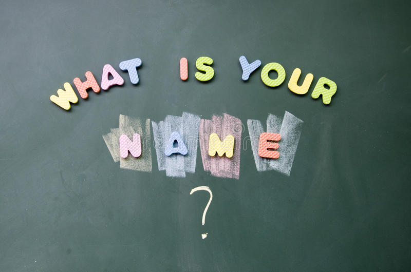 Was Ihr Name ist stockbilder