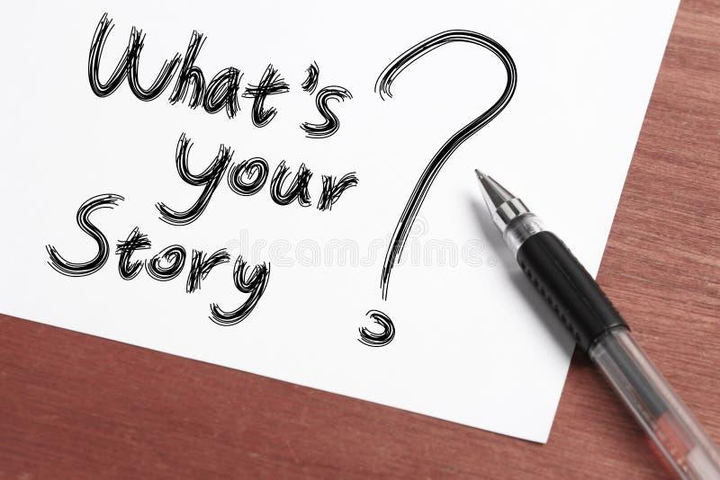 Was Ihre Geschichte ist stockfotografie