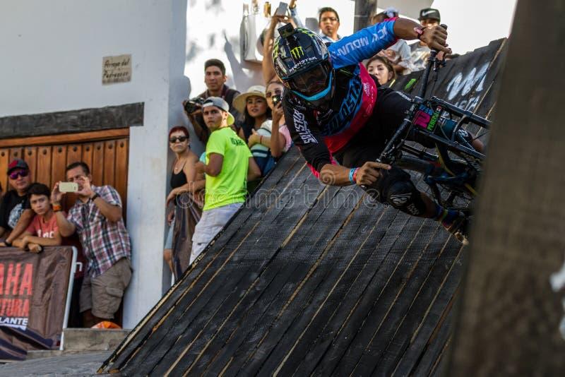 Mexican mountain bike rider Ricardo Peredo goes through a wall ride on Down Puerto Vallarta race, on april 30th 2017 royalty free stock photography