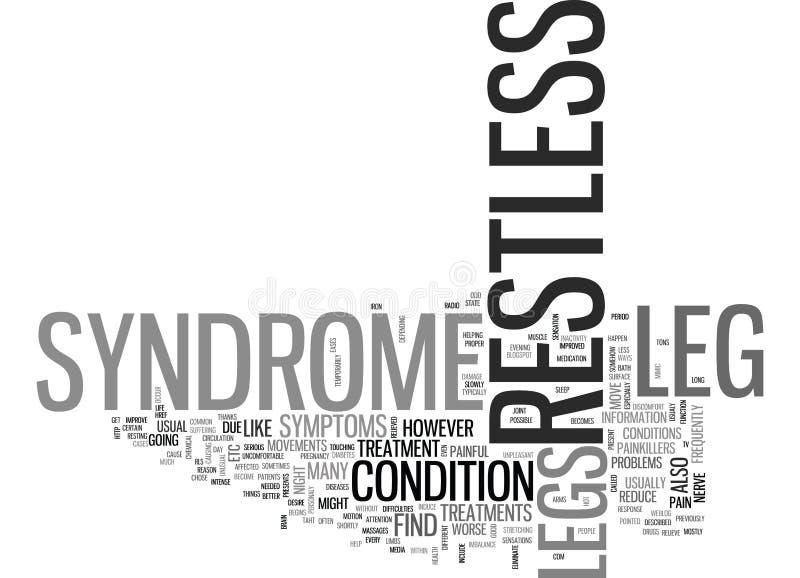 Was Ruhelos-Beine-Syndrom-Wort-Wolke ist stock abbildung