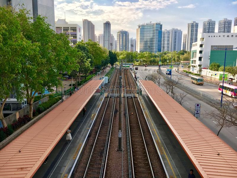 View of Tin Shui Wai, Hong Kong. It was taken in Tin Shui Wai in which is a new town in Hong Kong. You can see the Light Rail Transportation LRT in the town stock photography