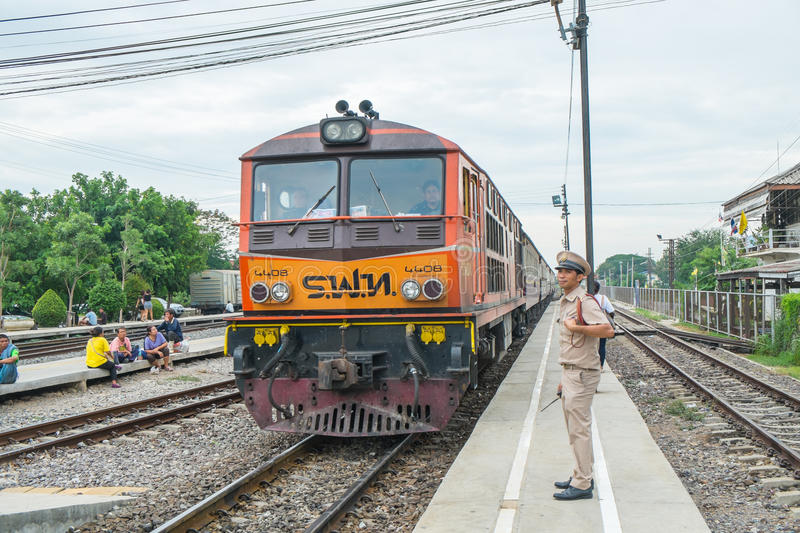 4408 was the train stops at Ayutthaya Railway Station royalty free stock photography