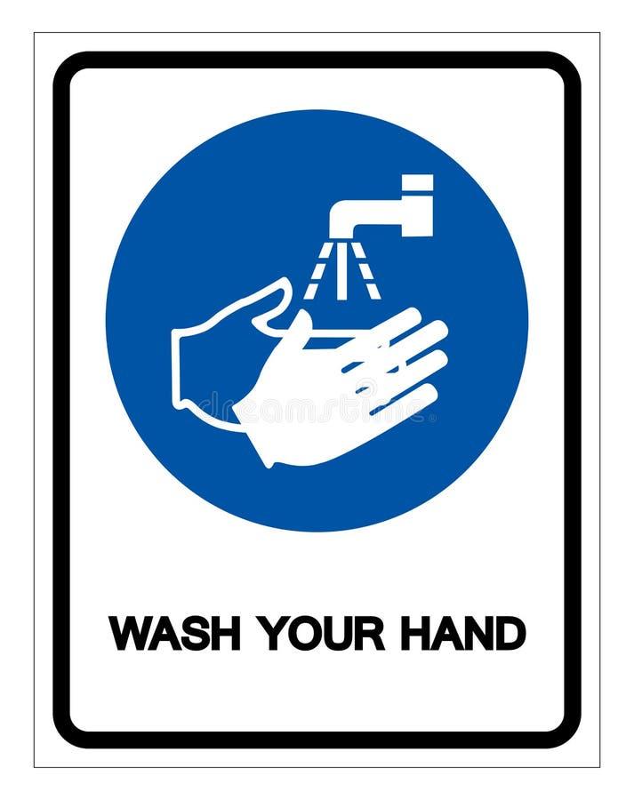 Was Uw Teken van het Handsymbool, VectordieIllustratie, op Wit Etiket wordt ge?soleerd Als achtergrond EPS10 vector illustratie