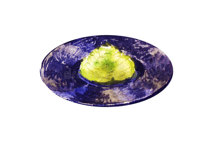 Wasabi on a black plate. Watercolor illustration. vector illustration