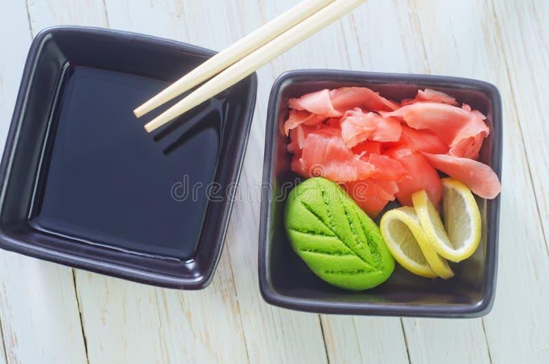 Wasabi en gember royalty-vrije stock afbeeldingen